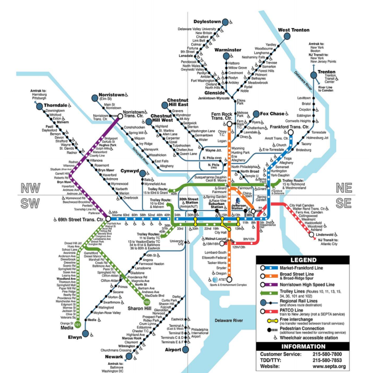 Philadephia Rapid Transit SEPTA MAP