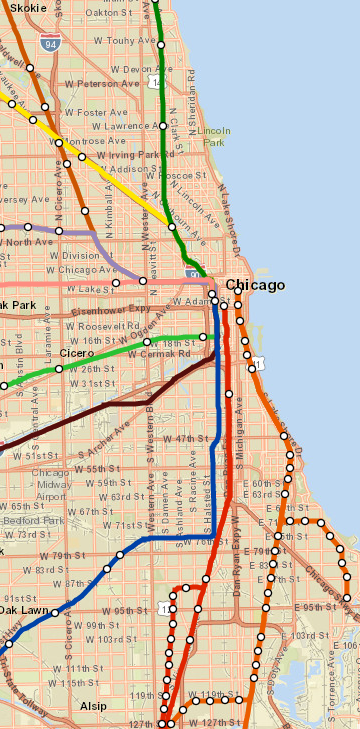Chicago City Limits Metra Map